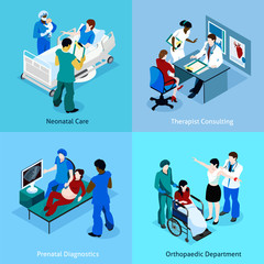 Doctor Patient Isometric Icon Set