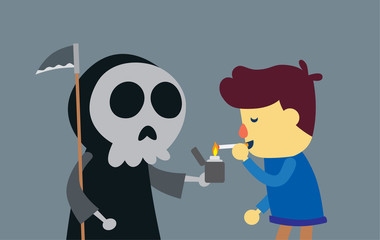 Angel of death to ignite cigarette with lighter for man smoking. This illustration is concept about danger of smoking
