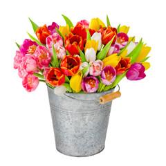 Tulpen - freigestellter Blumentrauß mit Dekoration und Blumenva