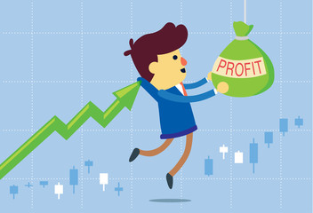 Price arrow get investor to take profit bag in stock market. This illustration about make money of investment in stock.
