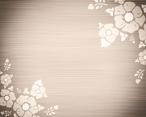 Background vignette straws and flowers, gray