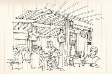 Thai street food restuarant atmosphere illustration doodle sketc