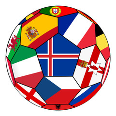 Ball with flag of Iceland in the center