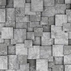 Fototapeta Concrete 3d cube wall background. 3D rendering obraz