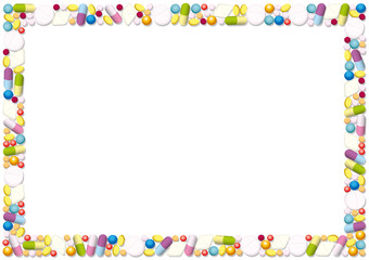 Pills and capsules forming a horizontal frame. Isolated vector illustration on white background.