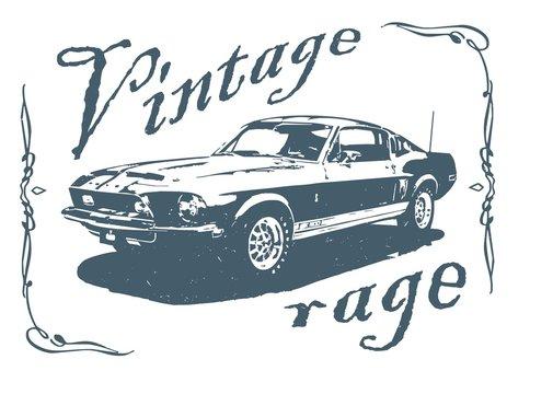 Vintage sport car. Vintage American Muscle Car Vector Silhouette. old school car.