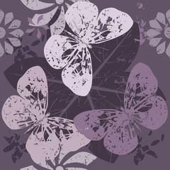 Stylish Pattern with Butterfly silhouettes on blossom flowers