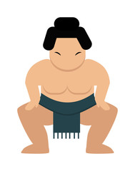 Angry cartoon japanese fat sumo wrestler vector illustration.