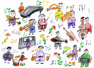 cartoon people musician collection, orchestra object, children drawing on paper, hand drawn art picture