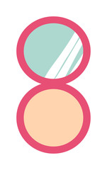 Makeup compact face powder with mirror fashion beauty female care skin flat vector illustration.