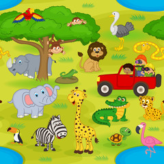 seamless pattern with animals in safari - vector illustration, eps