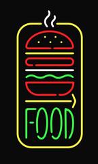Fast food neon sign light restaurant cafe black open night advertise background vector illustration.