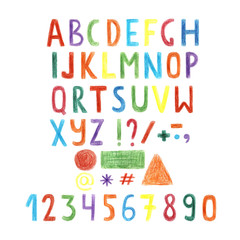 Hand drawn colorful letters, alphabet, numbers