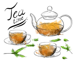 Tea collection. Hand draw vector illustration. cup, teapot