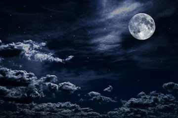 Night sky with stars and full moon background Fototapete