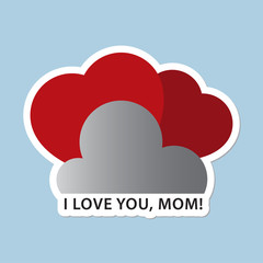 Mothers Day card with two red hearts and text