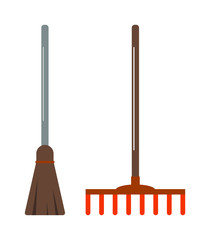 Gardening shovel and rake groundworks tools vector.