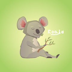 Vector illustration of cute cartoon koala.