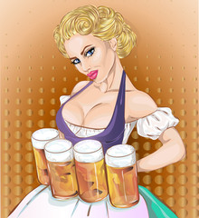 Oktoberfest pin-up woman with beer