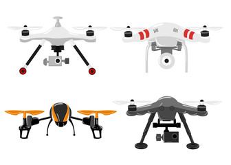 aerial vehicle quadrocopter. Air drone hovering. Drone sketch Wall mural