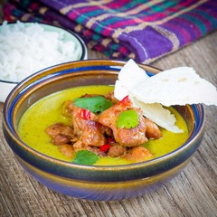 Green curry with chicken, bright, spicy Thai dishes tasty Asian