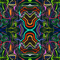 Colorful vivid vector of female face in abstract style, psychedelic surreal seamless pattern.