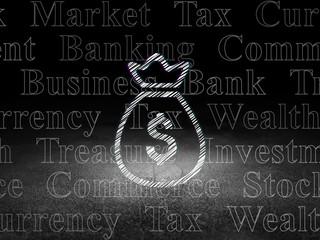 Banking concept: Money Bag in grunge dark room