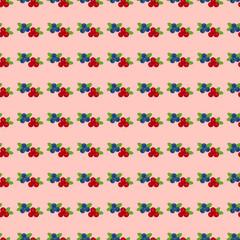 Cranberry and blueberry seamless pattern 5. Or illustration of cowberry and blackberry. Berries seamless pattern.