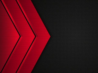 Black and red metallic background. Vector metallic banner. Abstract technology background
