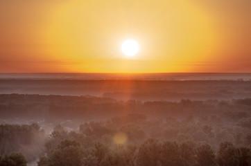 Foto op Aluminium Ochtendgloren Beautiful sunrise in the summer