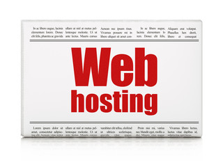 Web development concept: newspaper headline Web Hosting