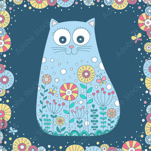 Doodle cat. Vector hand drawn cat with doodle ornament. Cute summer ...
