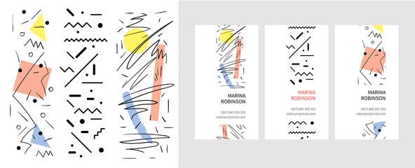Узор абстракция. линии, цветовые пятна, геометрические фигуры. визитная карточка. Шаблон