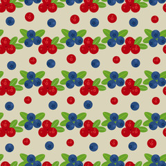 Cranberry and blueberry seamless pattern 3. Or illustration of cowberry and blackberry. Berries seamless pattern.