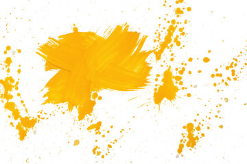 Cross shaped strokes with yellow gouache forming spots on a white canvas