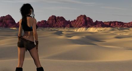 Futuristic Desert Landscape and City