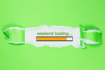 Design of progress bar, weekend loading with green torn paper