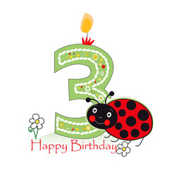 Happy second birthday candle. Baby greeting card with ladybird and daisy vector