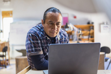 Native American artist using laptop in studio