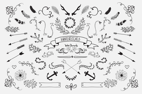 Hand Drawn vintage floral elements. Set of flowers, arrows and decorative elements.