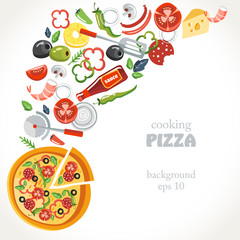 cooking pizza collection background set  bottle herbs statula cafe pineapple