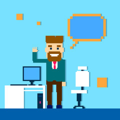 Business Man Point Finger Empty Copy Space, Businessman Office Workplace