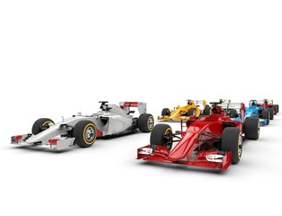 Formula one cars - starting positions - isolated on white background