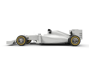 White formula one car - side view - isolated on white background.