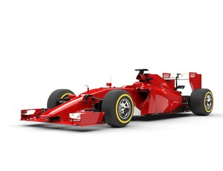 Awesome red formula one car - beauty shot - isolated on white background.
