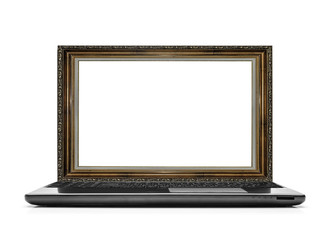 Laptop with a frame for the picture instead of the monitor.