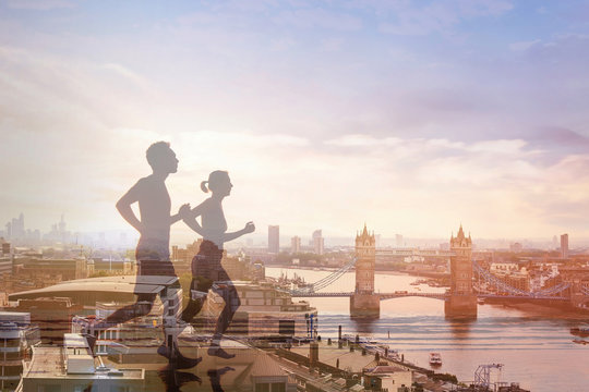 two runners and panoramic view of London, double exposure, workout and fitness concept
