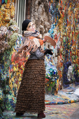 Artist, painter woman at work. Oil, canvas and palette