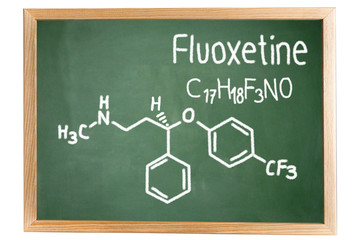 Blackboard with the chemical formula of Fluoxetine