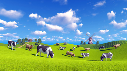 Wall Mural - Rural landscape with cows grazing on a green hills and with rustic house and windmill in the distance. Realistic 3D illustration was done from my own 3D rendering file.